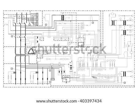 How To Draw Schematic Circuit Diagram | Schematic Diagram Power Supply Power Circuit Stock Vektorgrafik