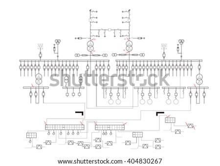 Schematic Diagram Power Supply Power Circuit Stock Vector Royalty