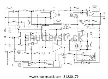 Astounding Schematic Diagram Project Electronic Circuit Graphic Stock Vector Wiring 101 Orsalhahutechinfo
