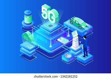 Schematic diagram of unmanned intelligent driving under 5G technology, big data technology and artificial intelligence