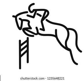 Schematic doodle of a horse and a rider, show jumping.