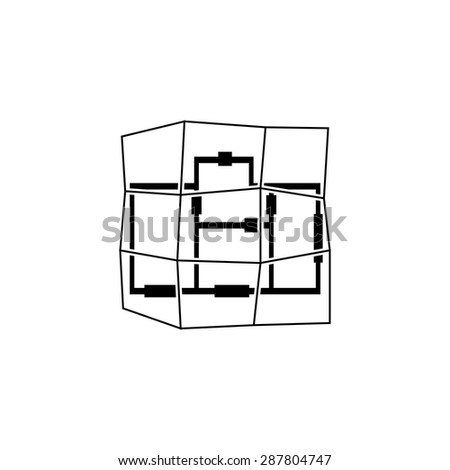 Schematic Drawing Building Modern Icon Design Stock Vector (Royalty