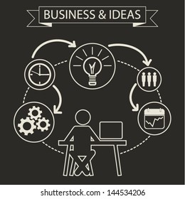 Schematic info graphic with businessman. Employee business model concept, data summary. Vector illustration