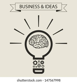 Schematic info graphic of smart light bulb. Business mind and ideas concept. Vector illustration