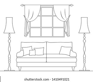 Schematic interior drawn in thin lines. Drawing of a room with a sofa window and torches. Line art of living room.