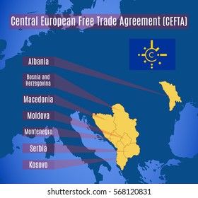Schematic map of the Central European Free Trade Agreement (CEFTA).