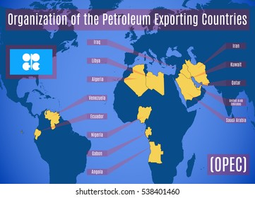 Schematic map of the Organization of the Petroleum Exporting Countries (OPEC). Vector illustration.