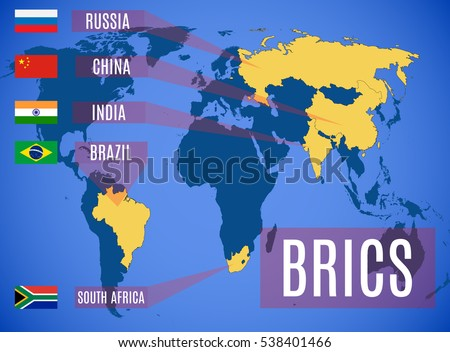 Schematic Map States Members BRICS Brazil Stock-Vrgrafik ... on