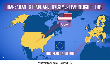 Schematic map of the Transatlantic Trade and Investment Partnership (TTIP). The flags of the US and EU. Vector.