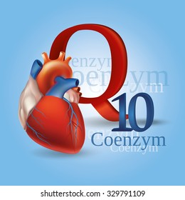 Schematic representation of Coenzyme Q10 - antioxidant substances necessary for the maintenance of normal heart function. Blue background.