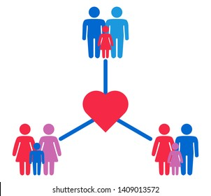 Schematic representation of family variations heterosexual, gay men and a pair of lesbian women with children