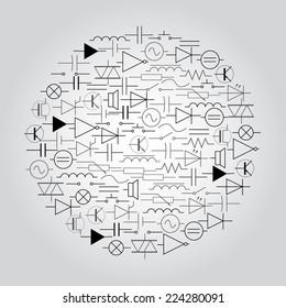 Schematic Symbols Electrical Engineering Icon Set Stock Vector ...