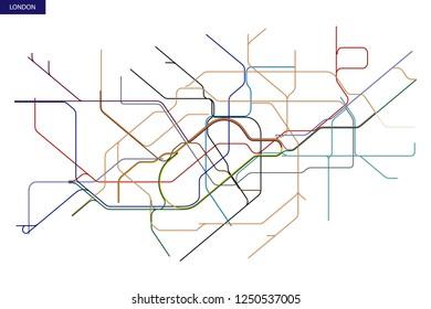 schematic transit map of the London Underground and Overground