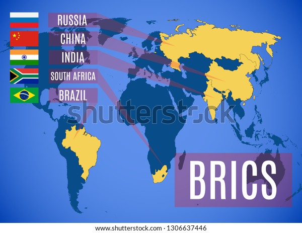 Schematic vector map of the states members of the BRICS (Brazil, Russia, India, China, South Africa). On the map Russia without Crimea.