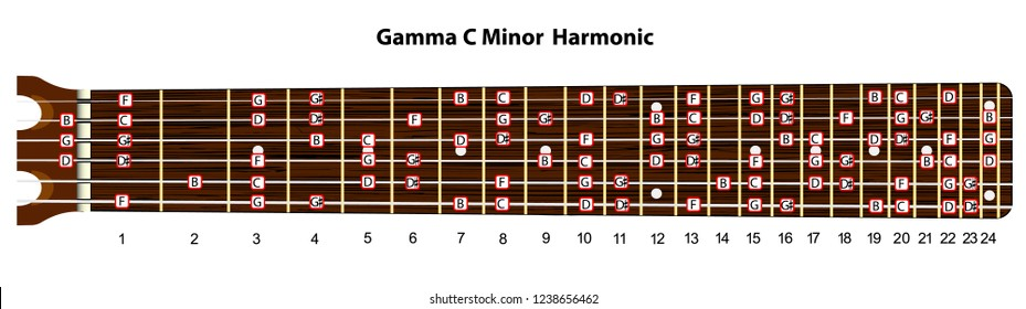 Schematic view of the guitar neck with a gamma C minor harmonic