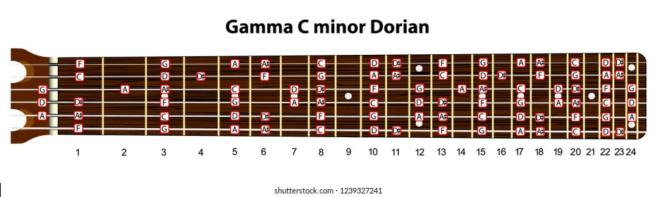 Schematic view of the guitar neck with a gamma C minor Dorian