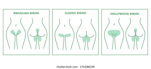 The scheme with areas for hair removal. Classic bikini. Female epilation and depilation with wax, sugar or laser.  Flat style. Illustration for beauty salons.  Designation of the border hair removal.