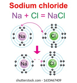 Scheme describe reaction of hydrogen (H) with chlorine (Cl) to produce Hydrogen chloride (HCl). Ionic bond. Vector illustration isolated white background.