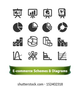 Scheme and Diagram Icons for Presentation in E-commerce, Statistics, Finance and Business Areas