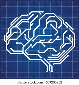 Scheme of digital brain on blueprint