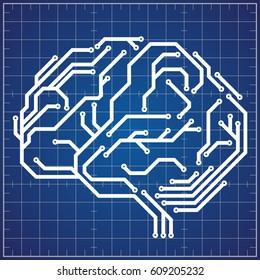 Scheme of digital brain on blueprint