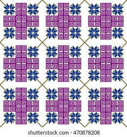 scheme for embroidery abstract floral pattern. pixel mosaic. Vector illustration. For the design, printing, textile industry. color