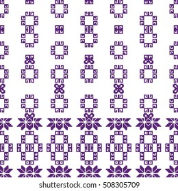 scheme for embroidery. Mosaic seamless pattern. Ethnic ornament. Vector Image. Green, golden, purple colors. For embroidery pattern. for the textile industry, home crafts