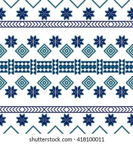 scheme for embroidery Nordic winter pattern, made of round pixels. Vector illustration. For the design, printing, textile industry. Blue color