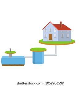 Scheme External network of private home sewage treatment system. Pipe, septic tanks, drainage on blue background - Cartoon flat illustration