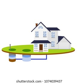 Scheme External network of private home sewage treatment system. Pipe, septic tanks, drainage on blue background. suburbs house - Cartoon flat illustration