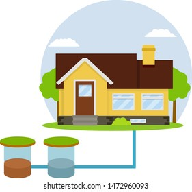 Scheme External network of suburban home sewage treatment system. house with red roof. Cartoon flat illustration. Pipe, septic tanks, drainage on blue background. Summer day with tree and blue sky