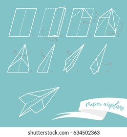 The scheme of folding a paper airplane, eight simple steps, fast flight. Vector illustration, white on blue background, info graphics.