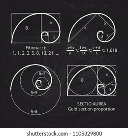 Scheme of golden ratio section, fibonacci spiral on blackboard vector illustration. Geometric harmony, spiral line