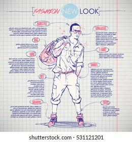 Scheme, sketch of  stylish dude. Vector infographics.