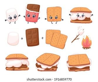Scheme of smore sweet children dessert preparing, cartoon vector illustration isolated on white background. Sweet sandwiches from chocolate and marshmallow.