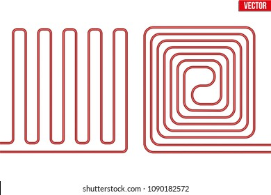 Scheme of Underfloor heating. Floor heating system. Ways of installing pipes under cover. Vector Illustration isolated on white background.
