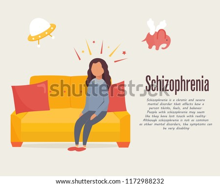 schizophrenia concept poster girl sitting on stock vector royalty