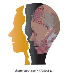 Schizophrenia depression male head.  Ripped paper Male head silhouettes. Concept symbolizing schizophrenia, depression.Vector available.