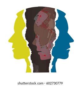 Schizophrenia depression male head silhouettes.Ripped paper Male head silhouettes. Concept symbolizing schizophrenia, dementia, depression.Vector available.