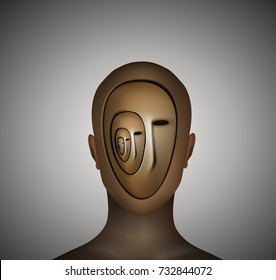schizophrenia, head with many heads inside isolated, mental problem disease, split mind vector