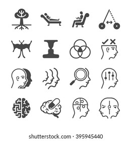 Schizophrenia and Psychology icons set. Included the icons as psycho, mind, mental, treatment, hypnosis, brain and more.