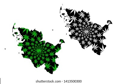Schleswig-Holstein (Federal Republic of Germany, State of Germany, Sleswick-Holsatia) map is designed cannabis leaf green and black, Schleswig-Holstein map made of marijuana (marihuana,THC) foliage,
