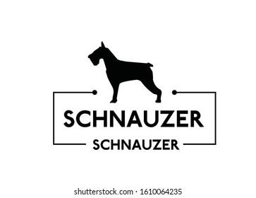 Schnauzer, black silhouette of dog on a white background