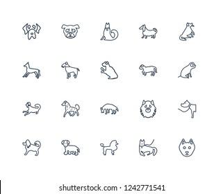 Schnauzer dog, Cane Corso Bichon Frise Beagle Hovawart Puggle Komondor Japanese Chin dog outline vector icons from 20 set