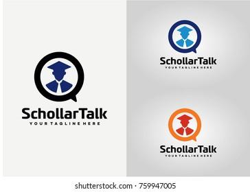 Scholar Student Talk Logo Template Design. Creative Vector Emblem for Icon or Design Concept
