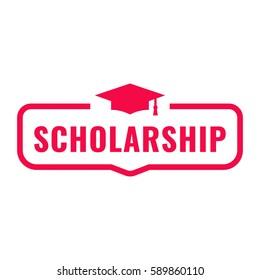Scholarship. Badge with graduation hat icon. Flat vector illustration on white background.