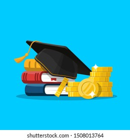 Scholarship concept. Education loan for pursuing. Graduation hat and stack of coins. Vector illustration in flat style.