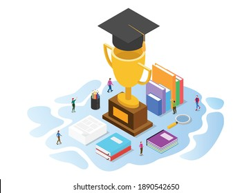 scholarship concept with modern isometric or 3d style
