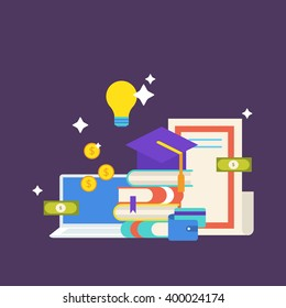 Scholarship concept. Vector illustration in flat style design. University student cap, books, diploma, notebook, money, wallet, credit card and light bulb.