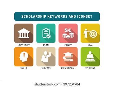 Scholarship Flat Icon Set